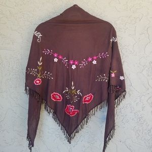 Melissa Odabash Embroidered Cotton Triangle Shawl